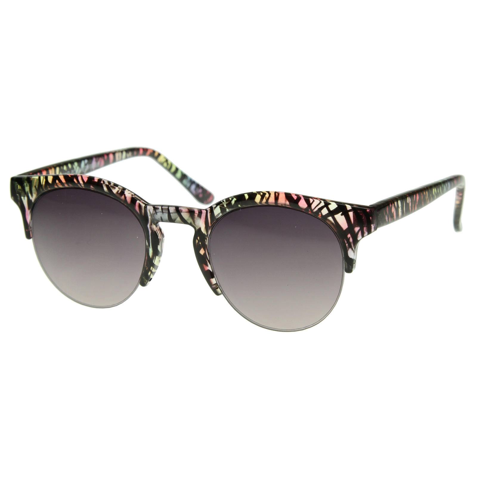 Exquisite-Ladies-NYC-Round-Half-Frame-Colorful-Prints-Fashion-Sunglasses-8522
